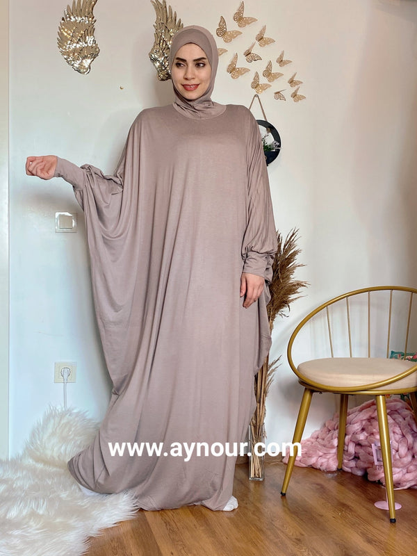 Elegant light mocha Breathable Prayer 1Piece Headscarf and long jilbab abaya many styles Hijab Luxurious Cotton Lycra - Aynour.com