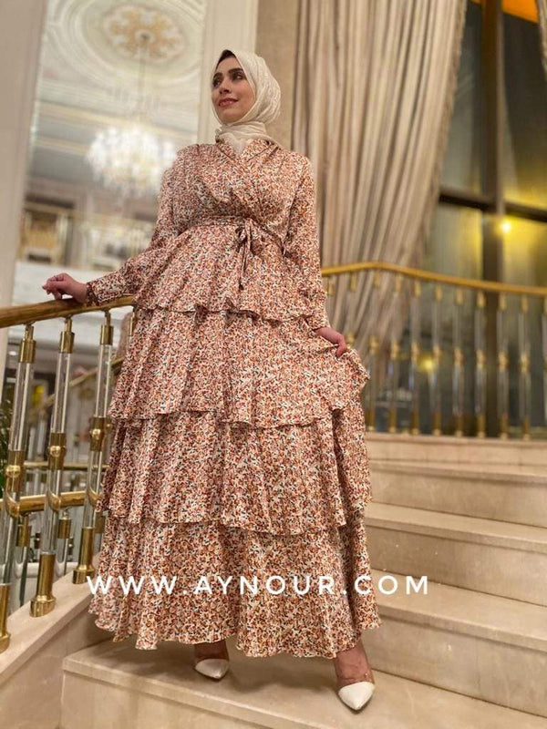 Fancy layers flowers EVENT Modest Dress 2020 - Aynour.com