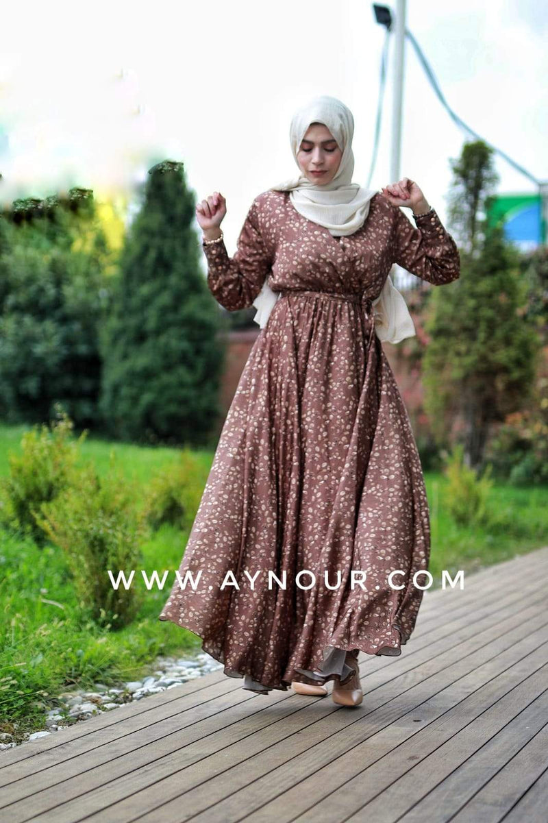 Flory Satin Brown EVENT Modest Dress 2020 - Aynour.com