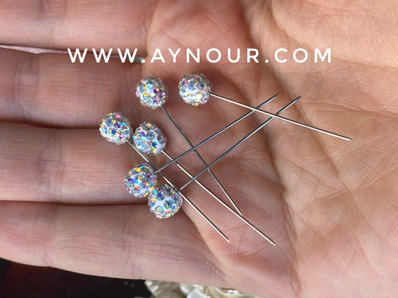 Flower crystals 3 luxurious basic pins - Aynour.com