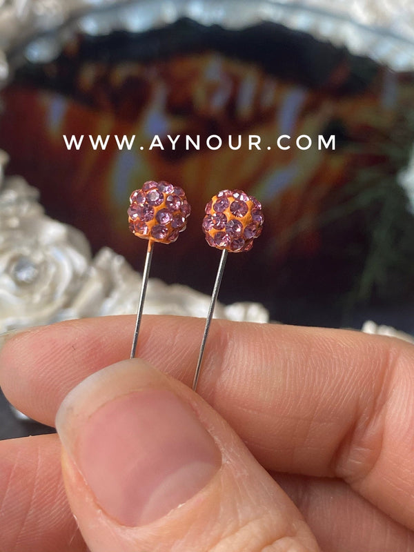 Flower rosy crystals 3 luxurious basic pins - Aynour.com