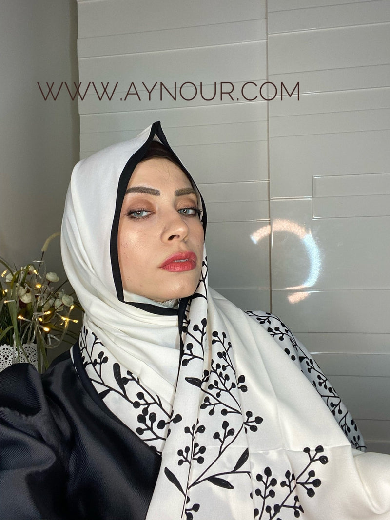 Flowers with white vibes Printed non transparent luxurious fabric Hijab 2021 - Aynour.com