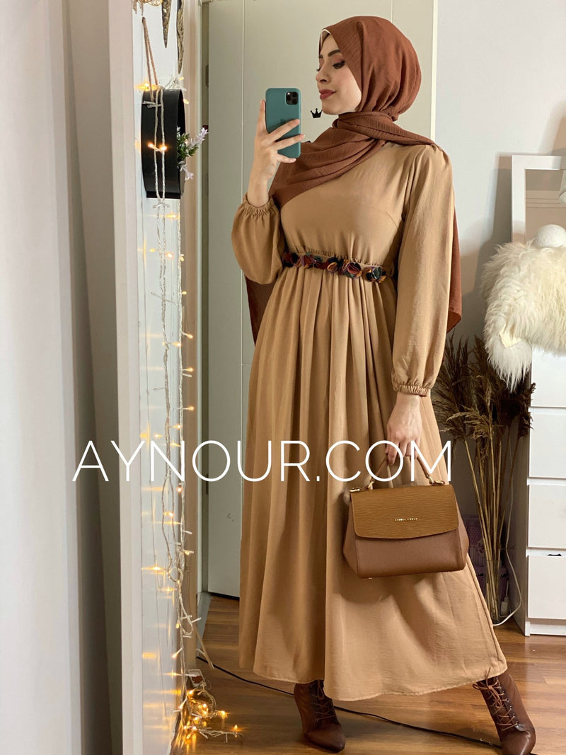 Flowery Brown regular and plus size Modest Dress 2020 - Aynour.com