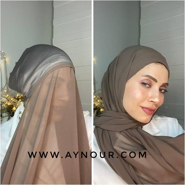 Garish Mocha 2 layers inner cab and scarf Instant Hijab 2021 - Aynour.com