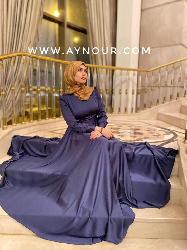 Glory elegant Navy Event Modest Dress 2020 - Aynour.com