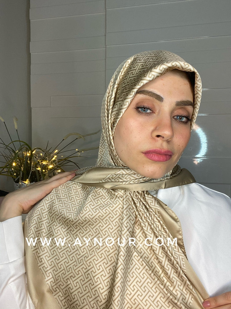 Golden elite satin squared classy non transparent luxurious fabric Hijab 2021 - Aynour.com