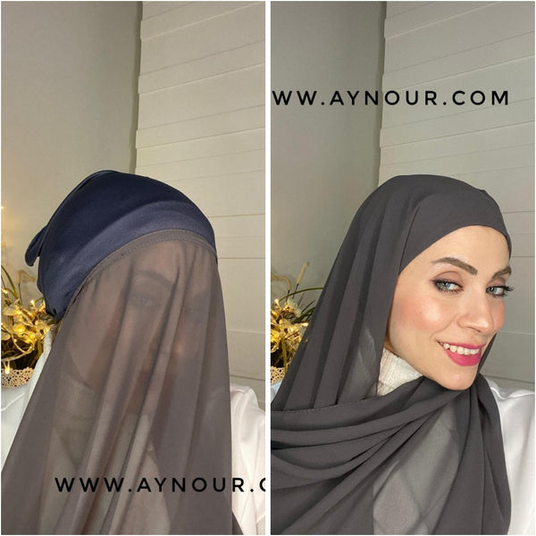 Graish Black 2 layers inner cab and scarf Instant Hijab 2021 - Aynour.com