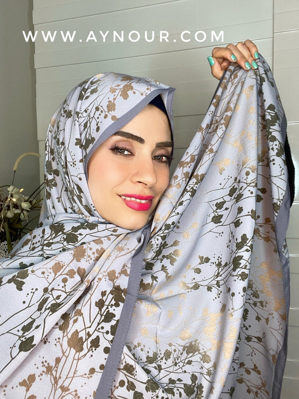 Graish flowery mix Printed non transparent luxurious fabric Hijab 2021 - Aynour.com