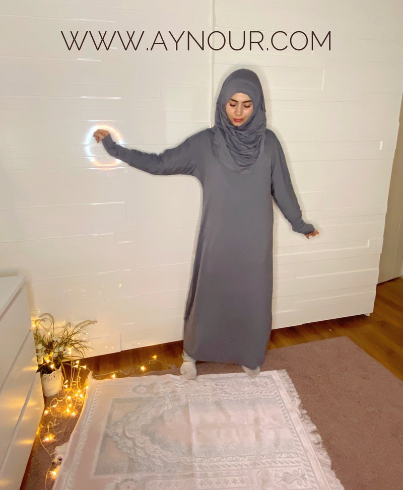 Gray Breathable Prayer 1Piece Headscarf and long jilbab attached Islamic Hijab Luxurious Cotton Lycra - Aynour.com