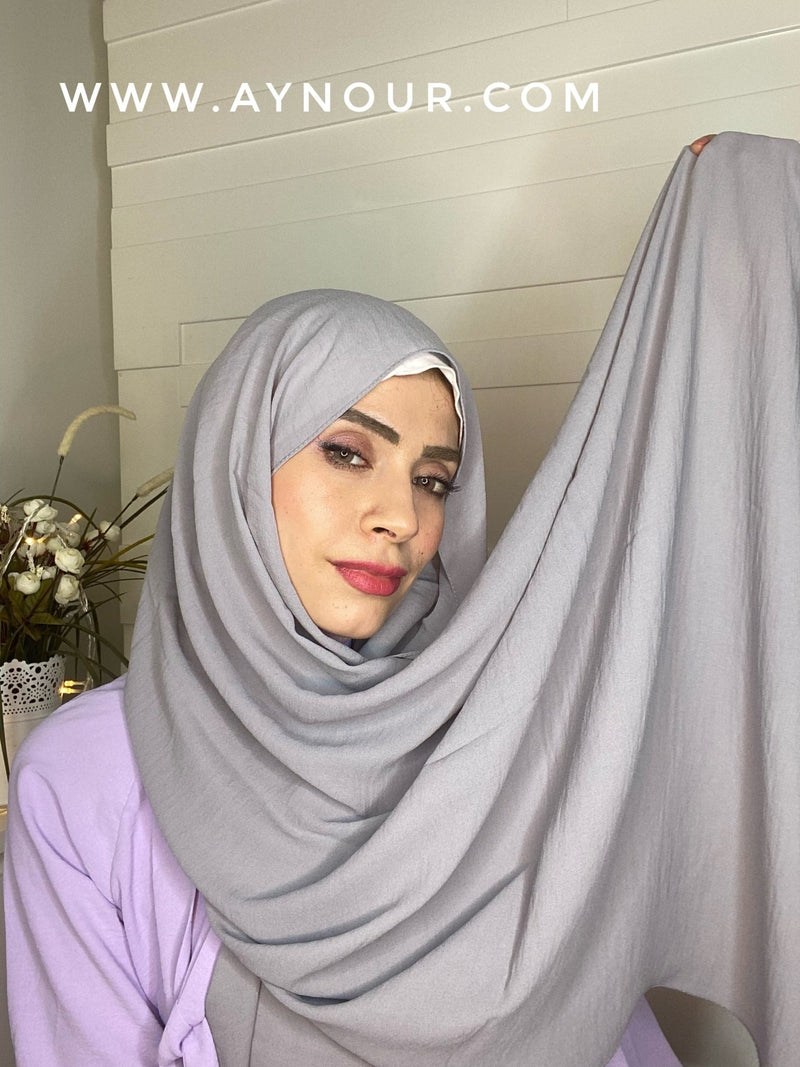 Gray classy non transparent luxurious fabric Hijab 2021 - Aynour.com