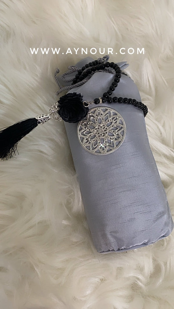 Gray Prayer Rug-Islamic mat with luxurious bag Islam 2021 without the tesbeeh - Aynour.com