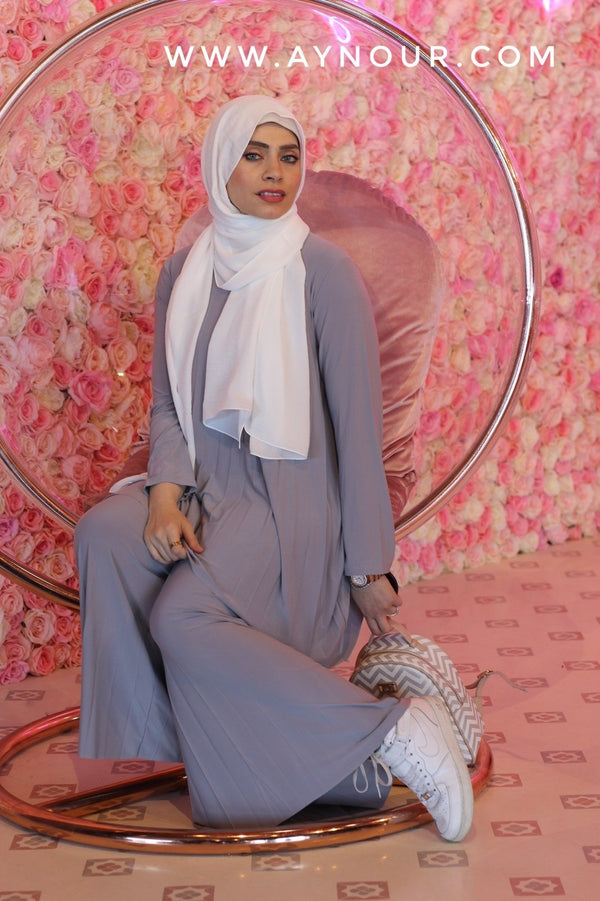 Gray Wide one size Islamic classy suit 2 pieces top and pant - Aynour.com