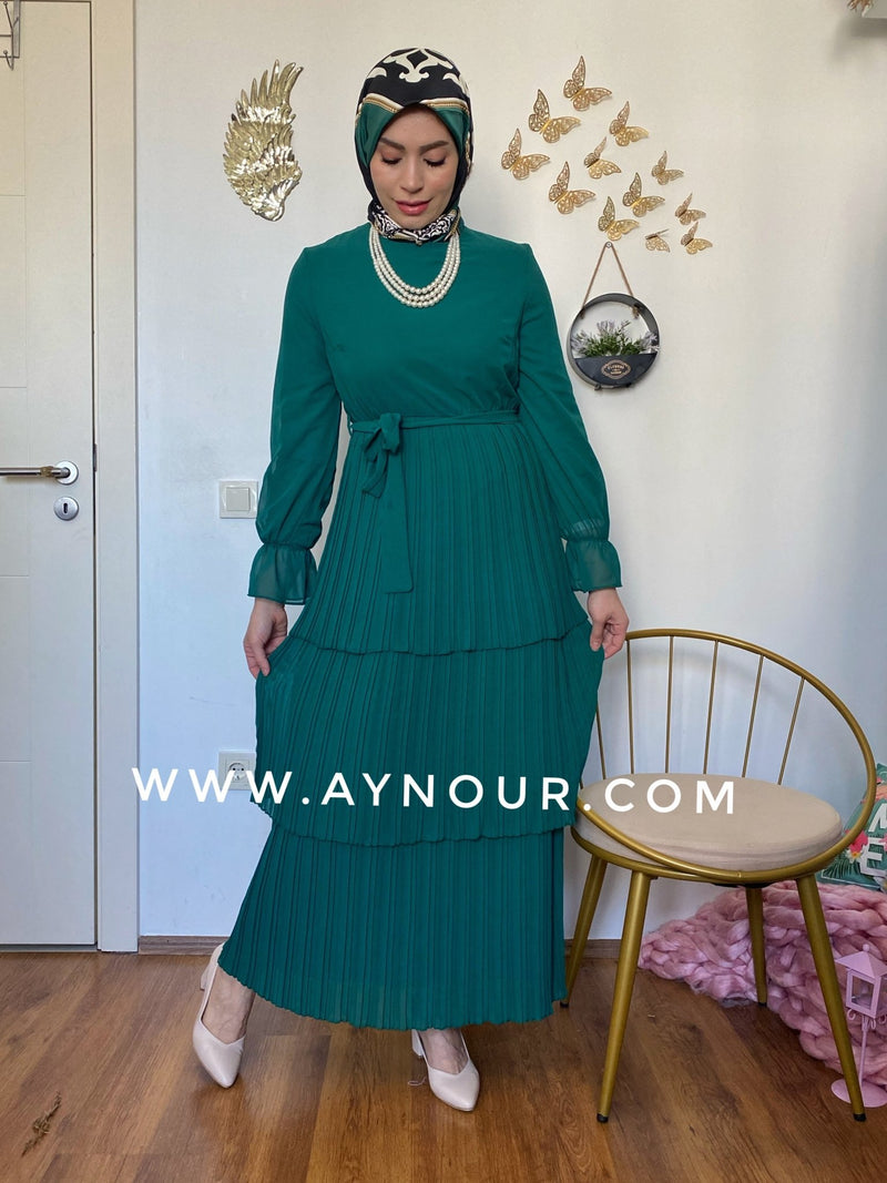 Green chiffon Vibes Modest Dress - Aynour.com