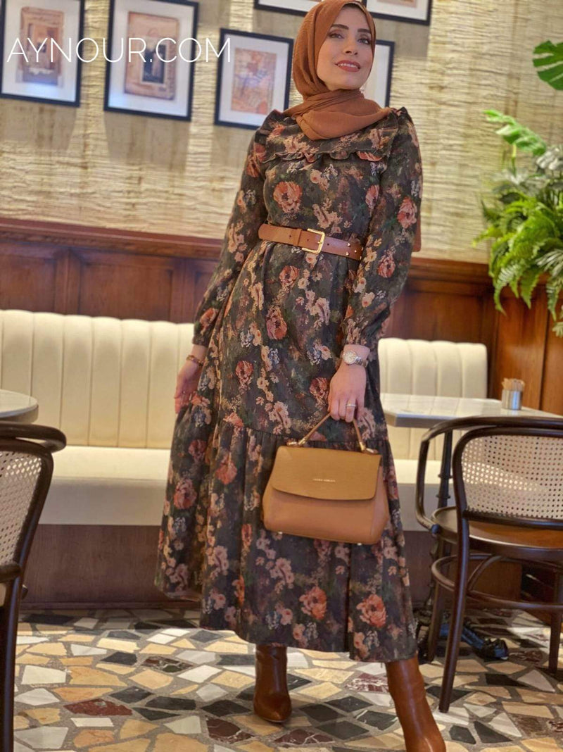 Green Mix Flowers Winter Collection Modest Dress 2020 - Aynour.com
