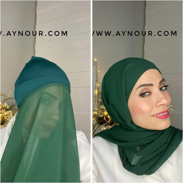 HEAVEN GREEN layers inner cab and scarf Instant Hijab 2021 - Aynour.com