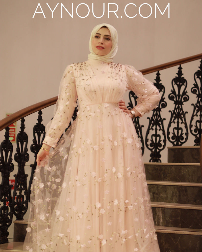 High Quality Floral Pink Princess Hijab Modest Dress 2020 - Aynour.com