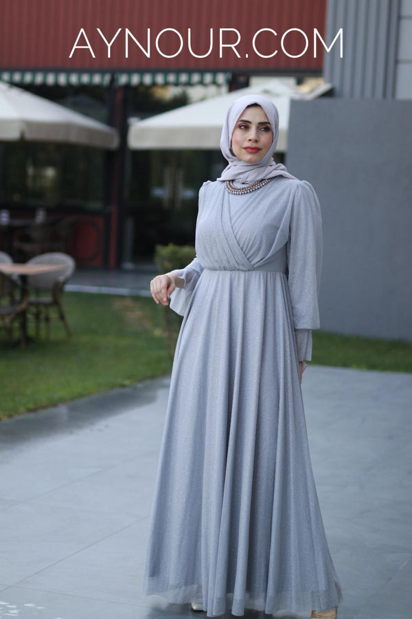 High Quality Grayish Hijab Modest Dress 2020 - Aynour.com