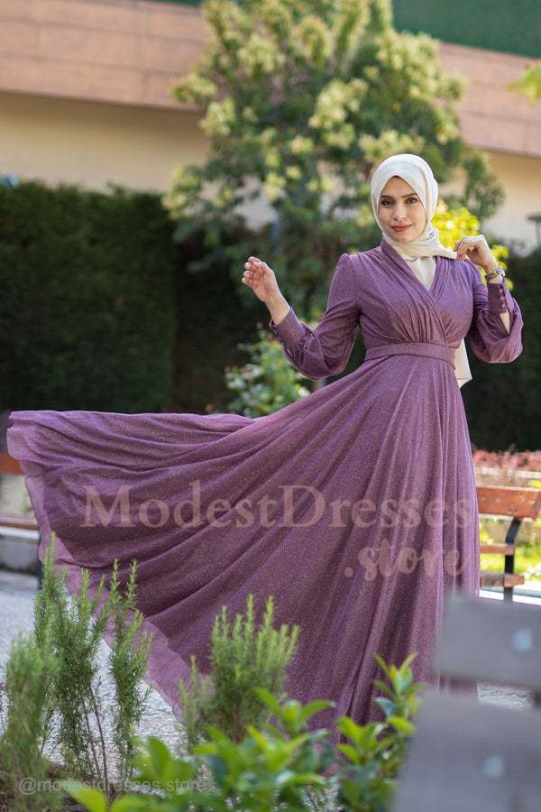 High Quality Lavender Hijab Modest Dress 2020 - Aynour.com