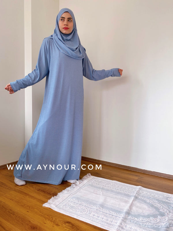 Sky blue Prayer 1Piece Headscarf and long jilbab attached  Islamic Hijab Luxurious non iorn