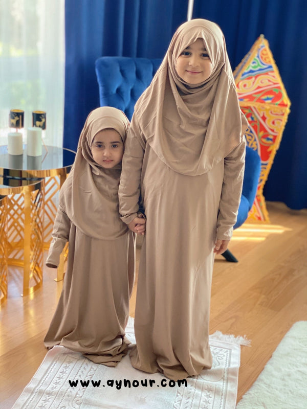 Kids Bieage sandy Prayer 1Piece Headscarf and long jilbab attached Islamic Hijab - Aynour.com