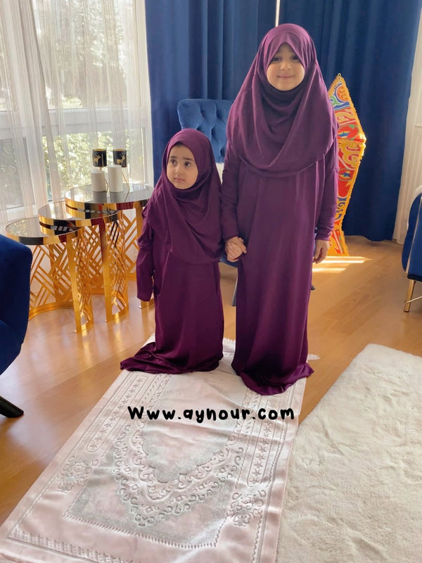 Kids purple sandy Prayer 1Piece Headscarf and long jilbab attached Islamic Hijab - Aynour.com