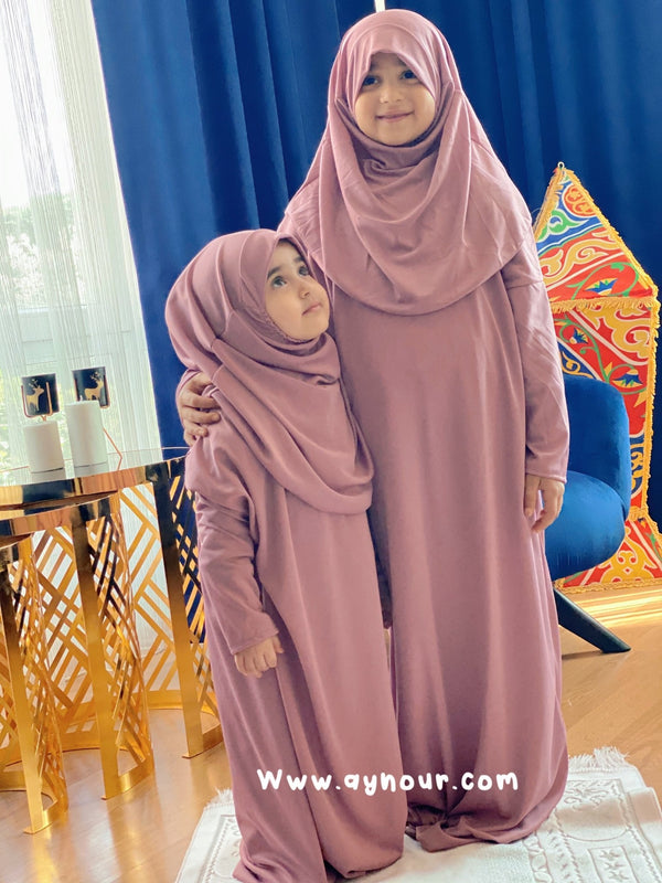 Kids Rosy sandy Prayer 1Piece Headscarf and long jilbab attached Islamic Hijab - Aynour.com