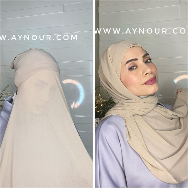 LATTIE BEAIGE layers inner cab and scarf Instant Hijab 2021 - Aynour.com
