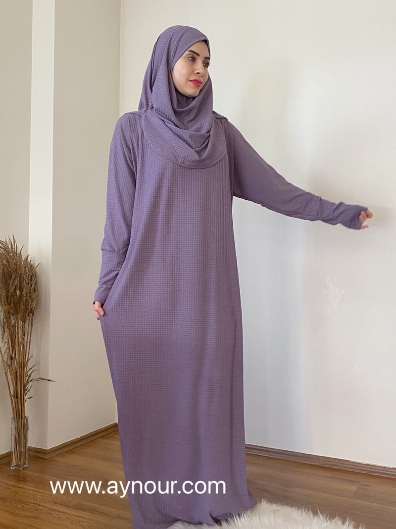 Lavender Prayer 1Piece Headscarf and long jilbab attached Islamic Hijab Luxurious non iorn - Aynour.com