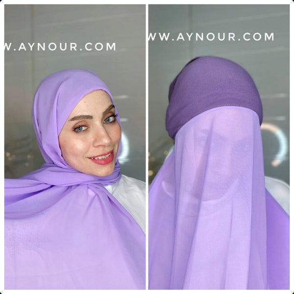 lavnder 2 layers inner cab and scarf Instant Hijab 2021 - Aynour.com