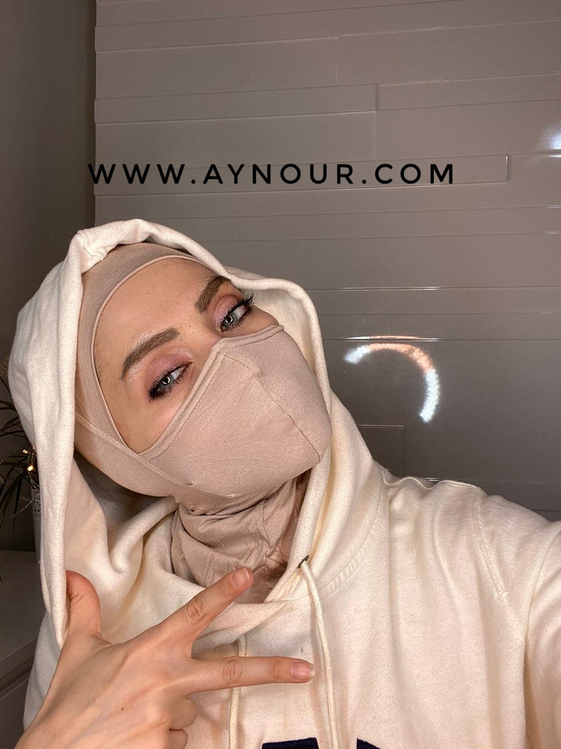light beige mask hijab cab cotton Best Instant Hijab 2021 - Aynour.com