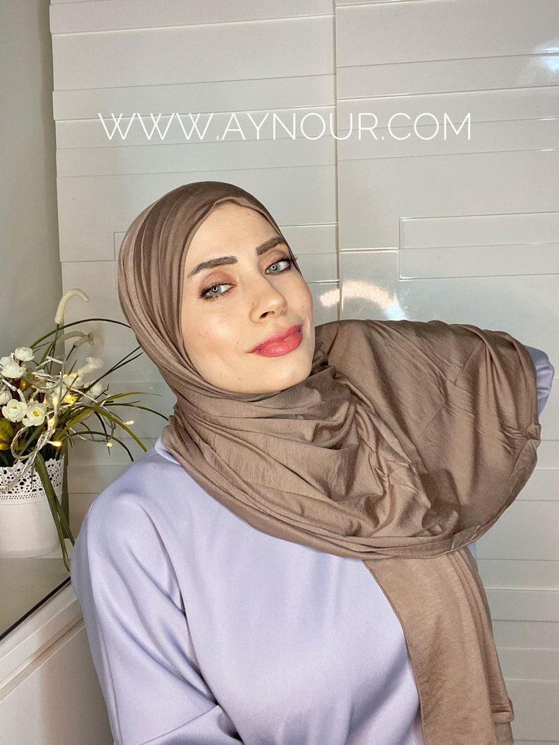 Light Brown cotton luxurious smart no pin scarf Instant Hijab 2021 - Aynour.com