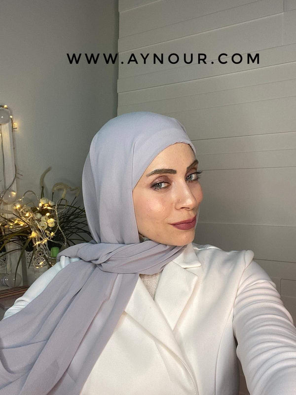 light Gray 2 layers inner cab and scarf Instant Hijab 2021 - Aynour.com