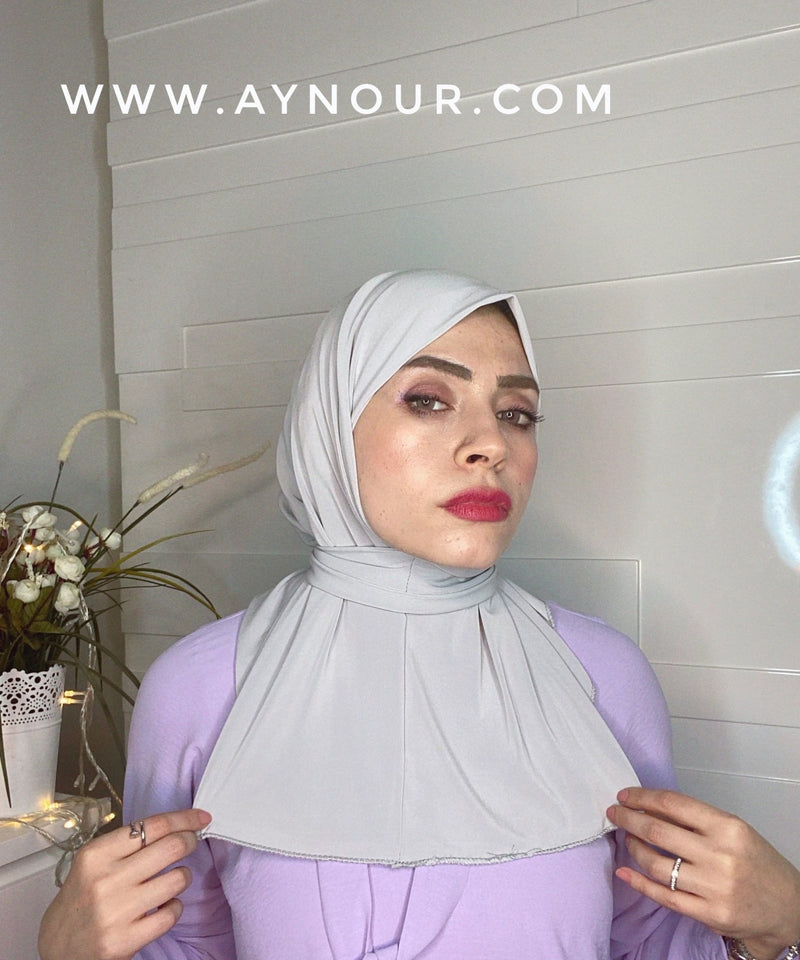 Light gray color Best Instant Hijab 2021 - Aynour.com
