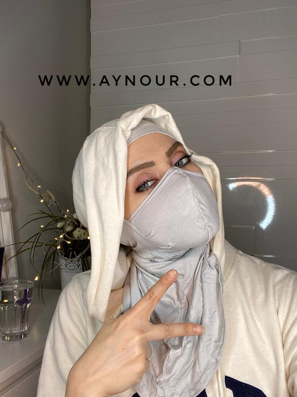 light gray mask hijab cab cotton Best Instant Hijab 2021 - Aynour.com