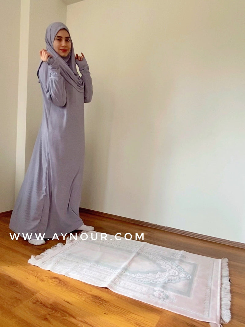 Light Gray Prayer 1Piece Headscarf and long jilbab attached Islamic Hijab Luxurious non iorn - Aynour.com