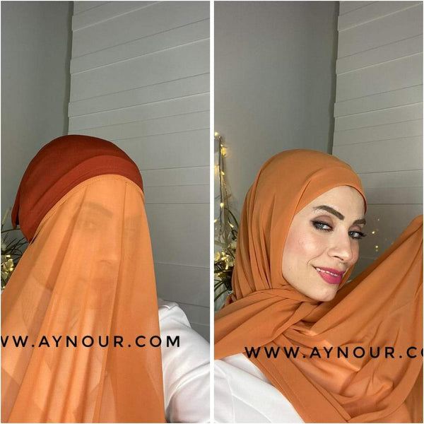 LIGHT ORANGE 2 layers inner cab and scarf Instant Hijab 2021 - Aynour.com