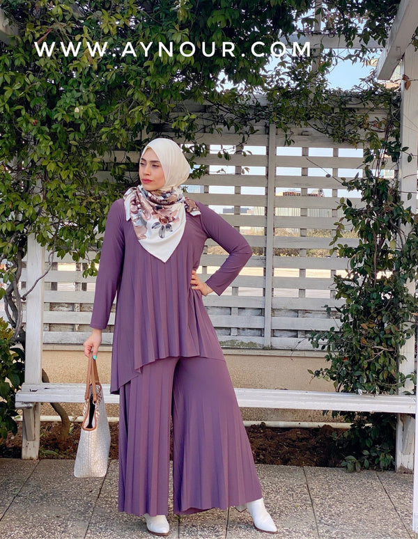 Light purple Wide one size Islamic classy suit 2 pieces top and pant - Aynour.com