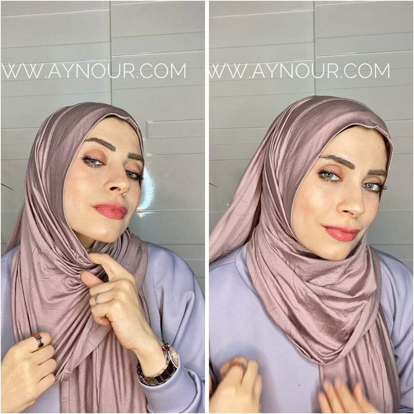 lilac cotton luxurious smart no pin scarf Instant Hijab 2021 - Aynour.com