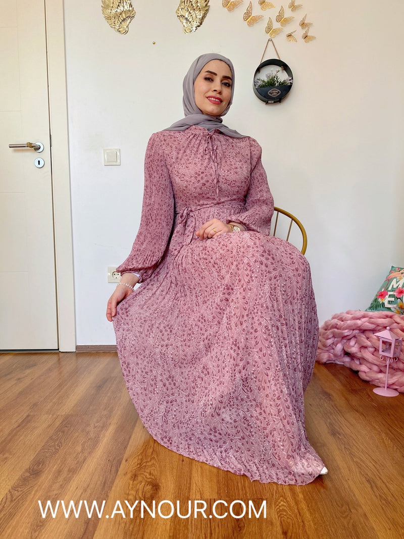 Love rose with flowers Modest Dress with belt spring collection 2021 - Aynour.com