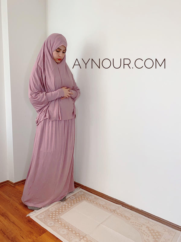luxurious cotton lycra prayer set breathable 2 Piece Prayer Set Headscarf Skirt Islamic Hijab - Aynour.com