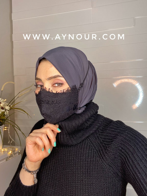 Luxurious lace black mask washable Best Instant Hijab 2021 - Aynour.com
