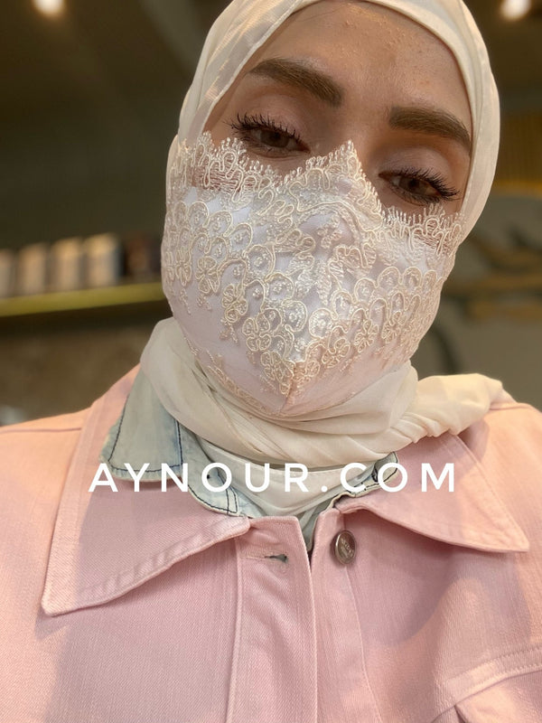 Luxurious lace white flory mask washable Best Instant Hijab 2021 - Aynour.com