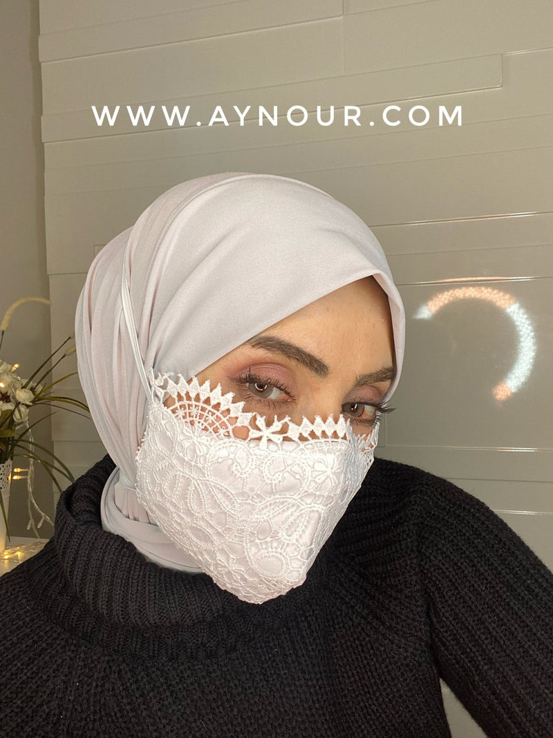 Luxurious lace white mask washable Best Instant Hijab 2021 - Aynour.com