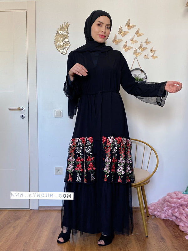 Modest flowers tulle Queen Abaya 2021 - Aynour.com
