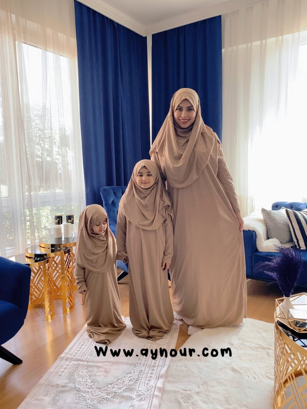 Mother and daughter prayer set Rosy sandy Prayer 2 items Headscarf and long jilbab attached Islamic Hijab - Aynour.com