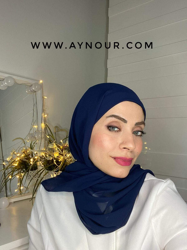 NAVY BLUE 2 layers inner cab and scarf Instant Hijab 2021 - Aynour.com