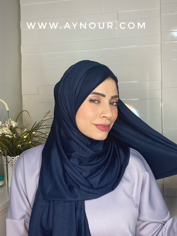 Navy Blue cotton luxrious smart no pin scarf Instant Hijab 2021 - Aynour.com