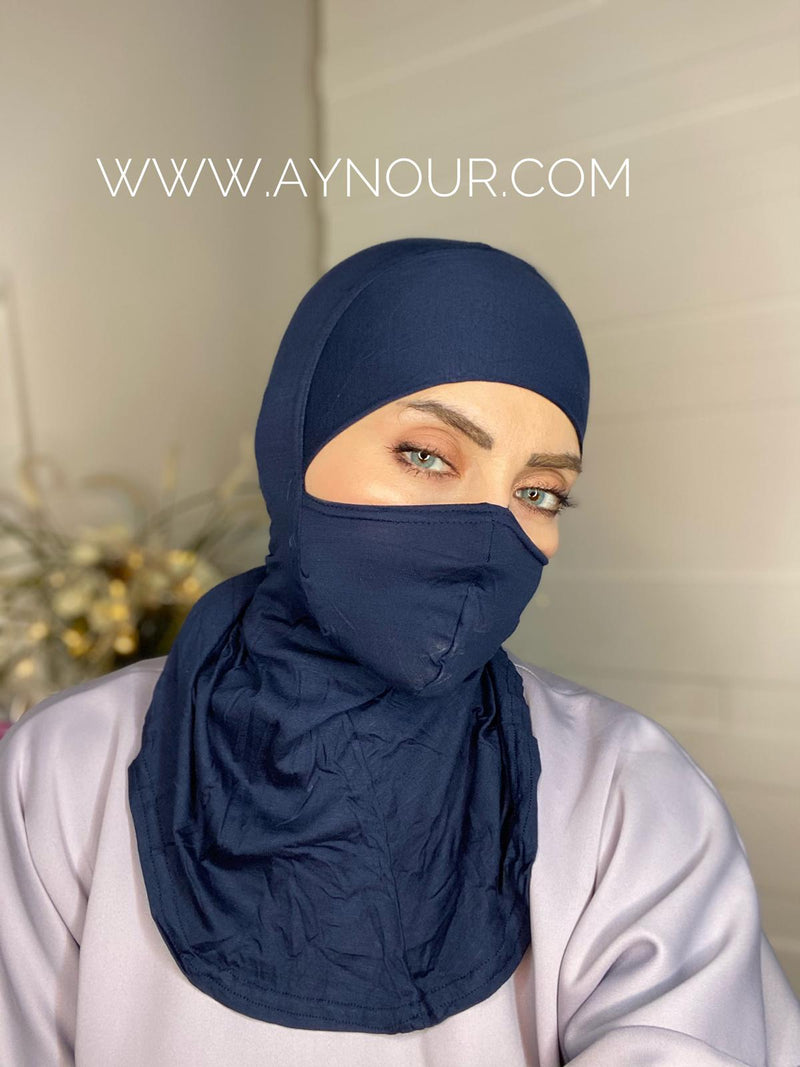 Navy Blue mask hijab cab cotton Best Instant Hijab 2021 - Aynour.com