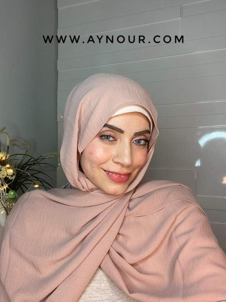 Nude beige classy non transparent luxurious fabric Hijab 2021 - Aynour.com