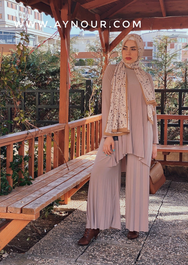 Nude color Wide one size Islamic classy suit 2 pieces top and pant - Aynour.com
